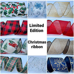 From 1 meter Christmas Ribbon Wire Edged Decoration Gifts Wrap Bow Tree Decor