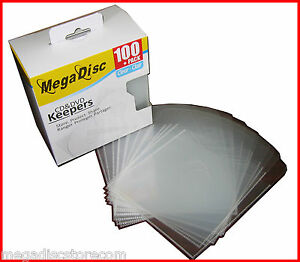 MEGADISC Keeper CD DVD Blu Ray Clear Plastic envelope Holder Sleeves 100 PK