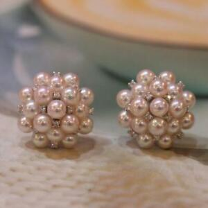 Natural Akoya South Sea Real Pearl Bridal Earrings For Women Stud 14K White Gold
