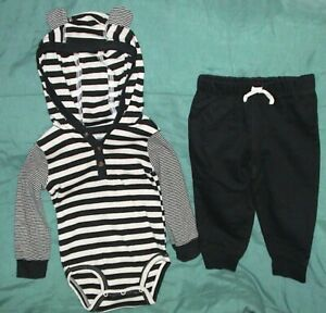 CARTER'S BLACK & GRAY STRIPED TOP WITH EARS/BLACK PANTS-SIZE 18 MONTHS-NWT