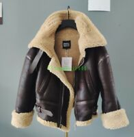 Womens Genuine Leather Real Shearling Lamb Fur Coat Bomber Motorcycle Jacket New