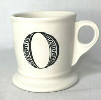 "Anthropologie Shaving Coffee Mug Cup ""O"" Monogram 12oz White Black Letter"