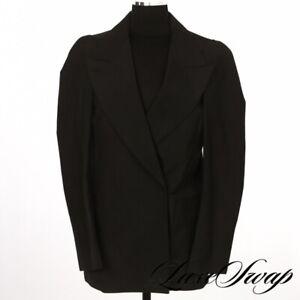 Maison Martin Margiela X H&M Black Rigid Microfiber DB Snap Jacket Blazer 6