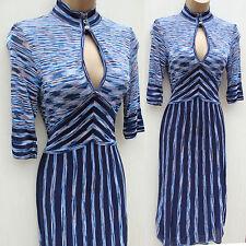 Karen Millen Azul Estilo Vintage Vestido De Rayas De Punto Fino 2 Reino Unido 8-10 EU-36