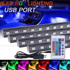RGB Car Interior Lighting Led Atmosphere Light 36LED Lamp USB Port Car Charger