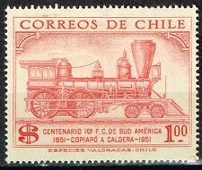 Chile Railroad old Locomotive stamp 1951 MLH