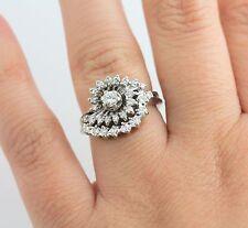 14K WG 1/2 CT Diamond Swirl Cluster Bridal Wedding Ring Set Halo Engagement VS