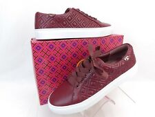 36f36d904314 New ListingNIB TORY BURCH MARION RED AGATE QUILTED LEATHER LOGO LACE UP  SNEAKERS 11