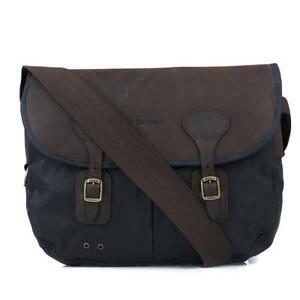 Barbour Wax Cotton and Leather Tarras Messenger Shoulder Bag Navy Blue