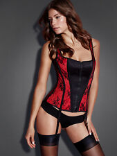 Fredericks of Hollywood Isabelle Red / Black Lace Zip Front Coset Sz Small