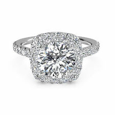 Round Cut 1.30 Ct Halo Diamond Engagement 14K White Gold Rings Size 7 8 9