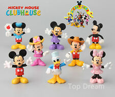 8X Mickey Minnie Mouse Donald Duck Clubhouse Figures Cake Toppers 8CM Girl Gift