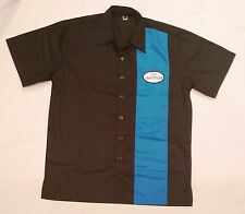 Men's Rockabilly Rock n' Roll Dice Shirt Black & Blue Bowling Garage Hot Rod  XL