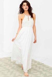 Kimchi Blue Embroidered Bodice Halter Maxi Dress Boho Summer Beach Wedding Large