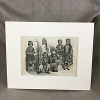1890 Print Persian Children Farsi Traditional Dress Costume Antique Original