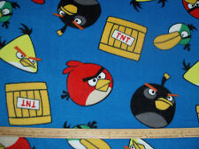 Fleece Fabric LICENSED Angry Birds TNT on Blue BTY