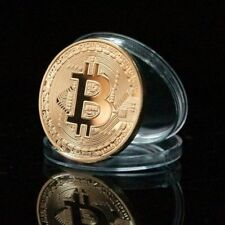 NEW Bitcoin Commemorative Round Collectors Coin .999 Fine Gold Plated Style