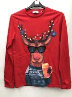NEXT Mens Christmas Rudolf Reindeer Long Sleeved Top Red Size S