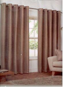 Copper/Beige Bronze Latte Basket Weave Textured Design Eyelet Curtains Lined