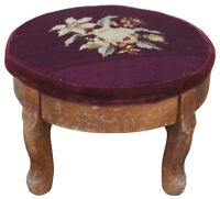 Victorian Revival Pine Needlepoint Embroidered Footstool Stool Rest Pouf 15""