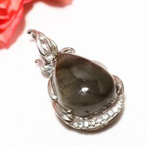 "Labradorite, White Topaz 925 Sterling Silver Rhodium Plated Pendant 1.37""P545-77"