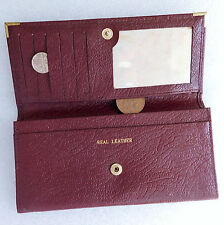 Burgundy real leather wallet with outside compartment Burgundy for men or ladies