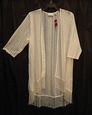 OPEN-FRONT/WEAVE LACE CROCHET FRINGE CARDIGAN JACKET SWEATER TOP~18/20~1X~NEW