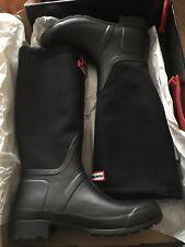 HUNTER Original Tour Canvas Waterproof Drawstring Black Rain boots Size 10