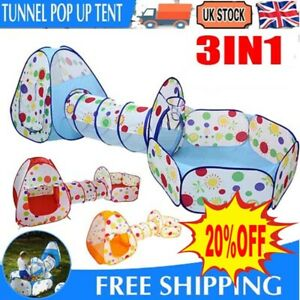 3 In1 Kids Play Tent Toddler Tunnel Ball Pit Pop Up Cubby Children Playhouse UK