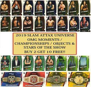 2019 WWE Slam Attax UNIVERSE - Championships Stars Objects OMG Moments