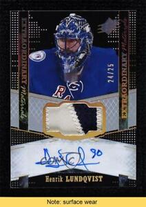 2016-17 SPx Extraordinary Materials Black 24/25 Henrik Lundqvist Patch Auto READ