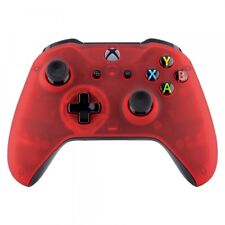 For Xbox One S X Controller Foggy Clear Red Soft Touch Top Faceplate Shell Cover