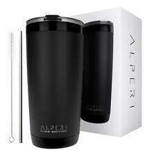 Black 20 oz Vacuum Sealed Steel Tumbler Insulated Coffee Cup Travel Mug | Alperi