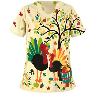 Women's Medical Scrubs Floral Printed Nurse Tops Short Sleeve Blouse With Pocket