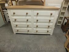 HAMPSHIRE PAINTED 8 DRAWER DOUBLE WIDTH CHEST /SOLID PINE - SOLID OAK