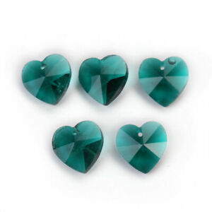Glass Loose Crystal Spacer Jewelry Charms Pendant Heart 14mm Beads Faceted 10pcs