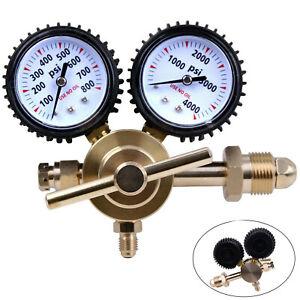 Nitrogen Regulator 0-800 PSI Pressure Equipment Brass Inlet Connection Gauges