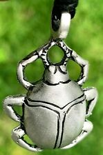 Egyptian Scarab Beetle Handmade Silver Color Pewter Pendant New Necklace