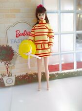 OOAK Barbie Japanese exclusive yellow red striped dress and hat