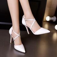 Stylish Womens Stilettos High Heels Pointy Toe Cross Strap Party Shoes Plus sz c
