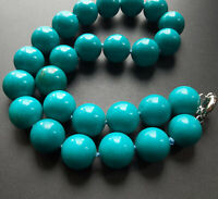 "Large Green Turquoise choker necklace,Round Smooth 18mm Beads Knotted 18"" 20""24"""