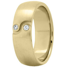 NEW MENS 14k YELLOW GOLD DIAMOND WEDDING BAND SATIN FINISH RING 7mm SIZE 10
