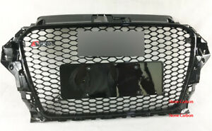 RS3 Henycomb Grill Black Grille Black Rings Fit For 2014 14 15 16 Audi A3 S3