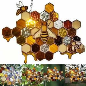 Stained Glass Bee Honeycomb Hanging Suncatcher Ornaments  Garden Window Decor