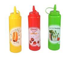 Squeeze Flasche in drei Farben - für Ketchup, Senf, Vinaigrette - Quetschflasche