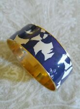 PreOwned J.Crew signed Wide Bangle Bracelet White Purpl Floral Enamel Gold Plate