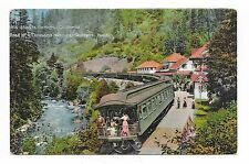 VINTAGE VIEW POSTCARD SOUTHERN PACIFIC RAILROAD TRAIN STATION SHASTA SPRINGS CA