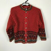 Dale Of Norway Cardigan Sweater Wool Red Geometric Size M L Women's Long Sleeve
