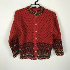 Dale Of Norway Cardigan Sweater Wool Red Geometric Size M L Women's Long Sleeve