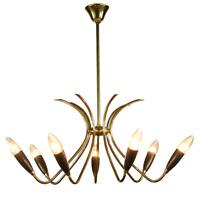 Eleganter Messing Decken Leuchter Stab Pendel Leuchte 50er Vintage Sputnik Lampe